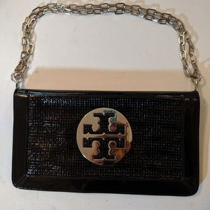 Tory Burch double flap style. Black patent leather